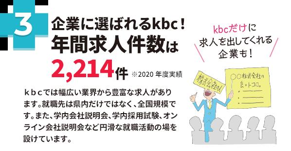 企業に選ばれるkbc!校内企業説明会は91社 kbcだけに説明会を行う企業も!kbcの学生を採用したい。という県内外の企業が学校内で説明会や採用試験を行っています。中にはkbcだけのために県外から来て説明会を行う企業もあるんです。